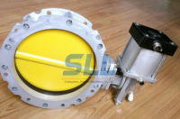 Pneumatic butterfly valve with double flange cement-silo